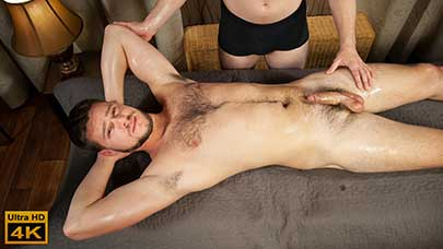 Tonda Zbranek is a very sexy guy who is due for a massage. He looks so good as he strips down to his underwear, showing his hairy chest. Then he lays, face down on the massage table.