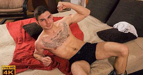 Ondra Chudec is from Rakovnik. He is aged 24 and works as a locksmith. In his spare time he enjoys sports, soccer and fitness. He is very relaxed as he sits on the side of the bed and does his interview.