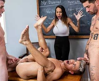"""Jack Hunter, Andy's boyfriend quickly joins in when he finds out how fun """"learning"""" can be... McKenzie was all too, how do you say """"surprised"""" to find out what these lessons were all about!"""