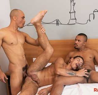 You certainly remember the blistering hot threeway between Gustavo Ryder, Augusto Phellipe and Kaliu. Here's a chance to pop a woody over these three studly Brazilian barebackers all over...